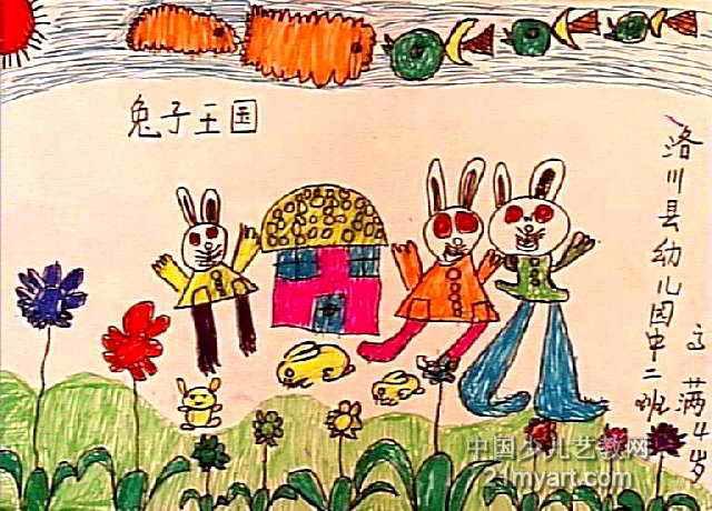 兔子王国儿童画作品欣赏