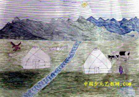 美丽的大草原儿童画