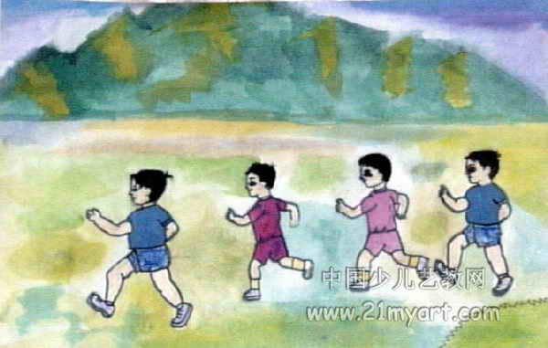 成功秘决儿童画 在森林玩游戏儿童画作