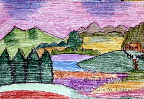 我的家乡儿童画7幅