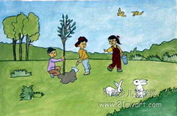 植树造林美化校园儿童画