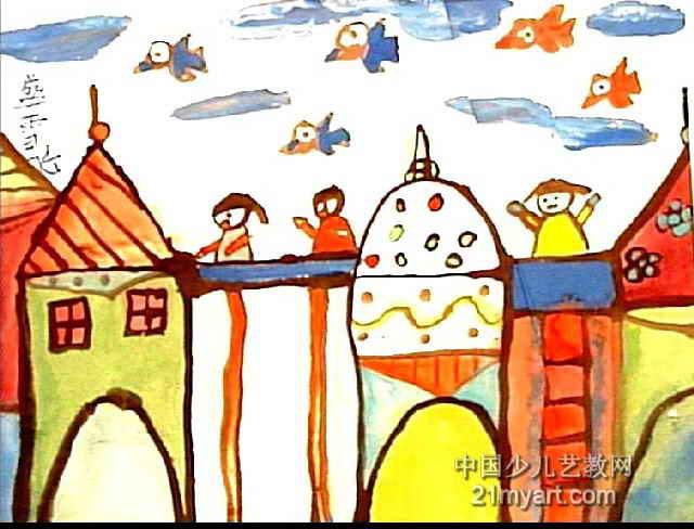 高架桥儿童画图片