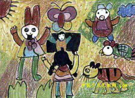 我和动物在一起儿童画属于油画棒画