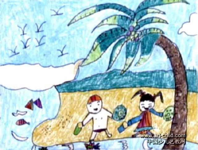 河滩风景儿童画图片