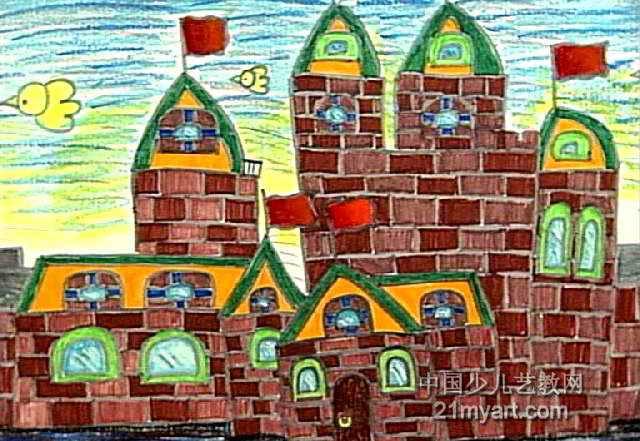 美丽的城堡儿童画属于油画棒画,长441px,宽640px