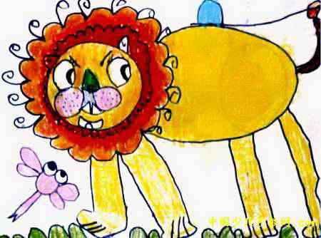 威风的大狮子儿童画