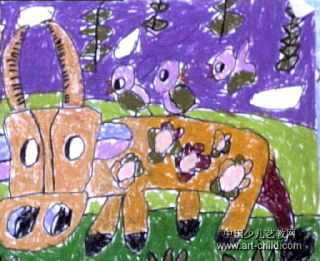 老牛吃草儿童画作品欣赏