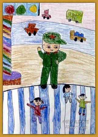 交通警察简笔画-我是小交警儿童画2幅