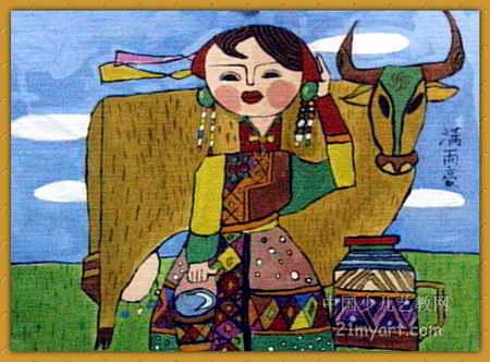 儿童画 高伟/美丽草原我的家儿童画,此幅油画棒画尺寸为332x450像素,作者...