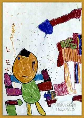 洗澡儿童画属于油画棒画
