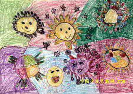 太阳姐妹儿童画