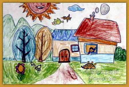 田园风光儿童画,此幅油画棒画尺寸为303x450像素