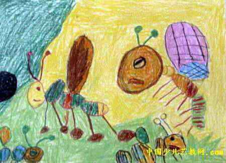 蚂蚁搬家儿童画,此幅油画棒画大小为325x450像素,作者黄义政,来自长海县幼儿园,男,3岁.