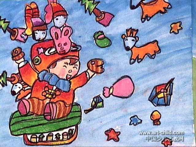 快乐圣诞油画棒儿童画