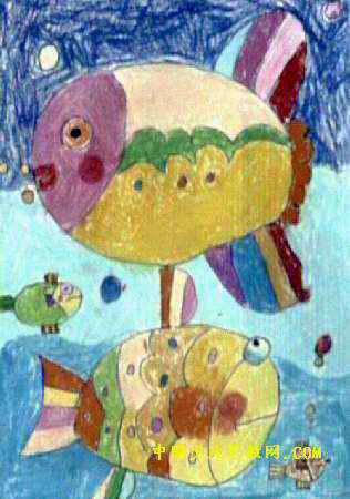 我家的鱼油画棒儿童画
