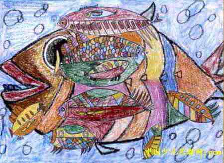 """""""鱼""""儿童画,此幅油画棒画尺寸为328x450像素,作者朱文欣,女,8岁,来自"""