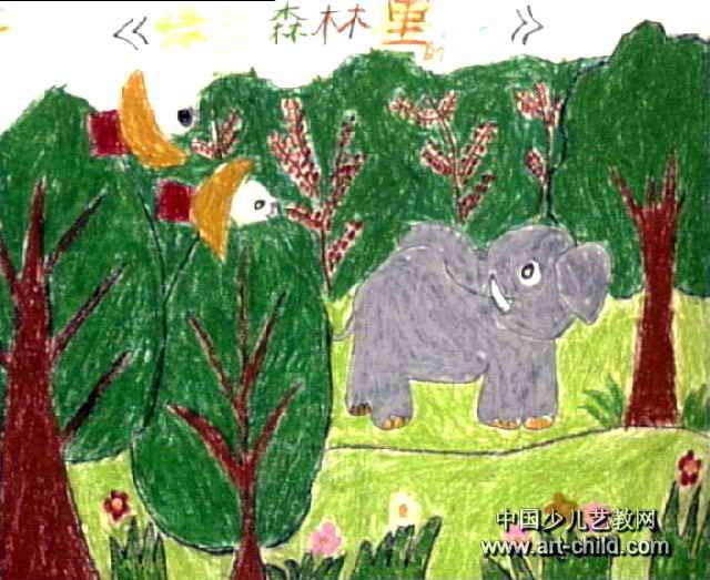森林里的小象兒童畫圖片
