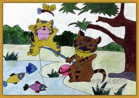 小猫钓鱼儿童画(三)8幅