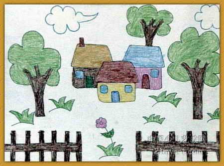 长汽球_美丽的家园儿童画15幅(第4张)