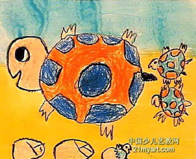 小乌龟和他的妈妈儿童画2幅