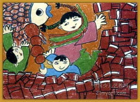 过年了儿童画9幅