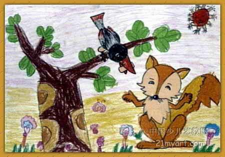 狐狸和乌鸦儿童画3幅