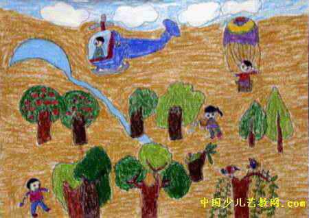 沙漠中的绿洲儿童画
