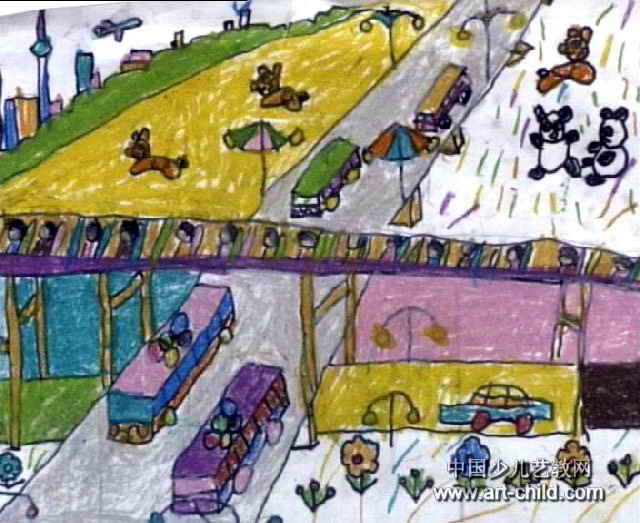 我和妈妈看奥运去儿童画作品欣赏