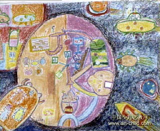 火星游乐场儿童画作品欣赏