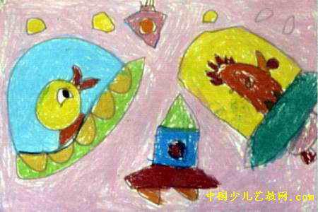 小鸡小鸭游太空儿童画图片
