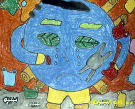 痛苦的地球孩子儿童画