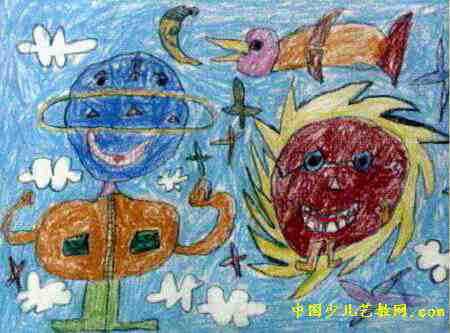 太阳公公和我儿童画