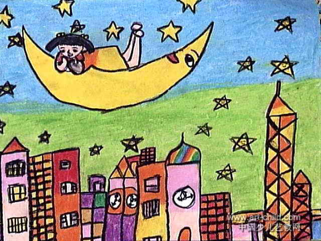 家乡的夜晚油画棒儿童画,这幅油画棒画作品长480px,宽640px,作者许芯铭,女,7岁,就读泉州市鲤城区红梅幼儿园。