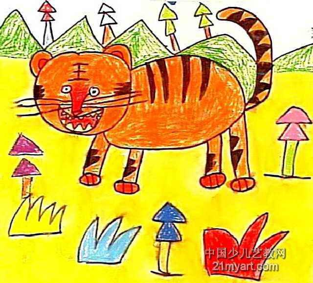 可爱的老虎油画棒儿童画