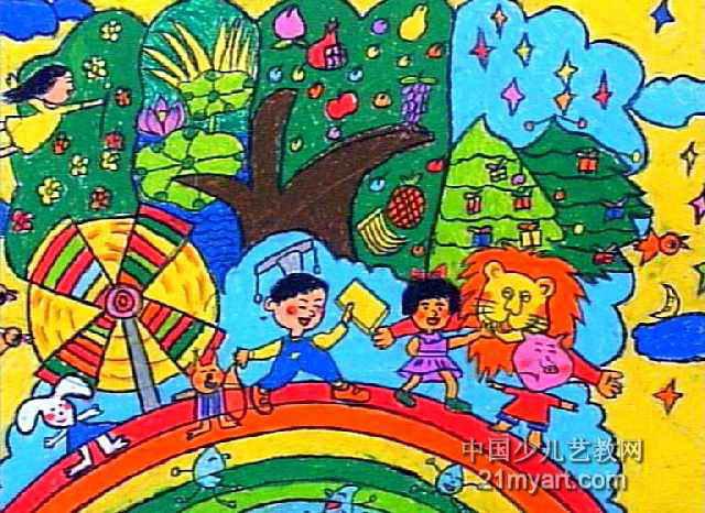我的许愿树儿童画图片