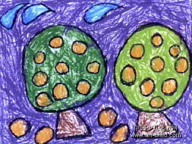 桔子树儿童画作品欣赏