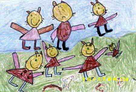 小猫做操儿童画