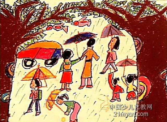 儿童画下雨了 六一儿童网