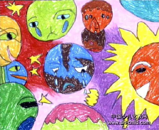 地球弟弟怎么了儿童画作品欣赏