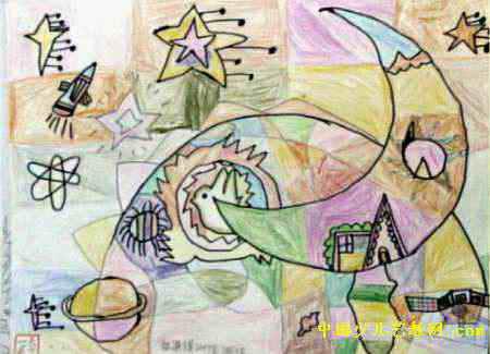 太阳·地球·月亮儿童画