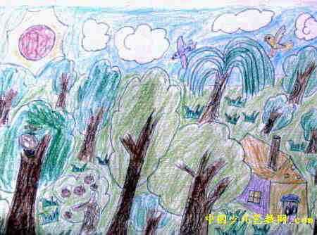 小树林儿童画属于油画棒画,长334px,宽450px,作者王超杰,来自汾阳市