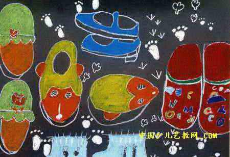 拖鞋儿童画