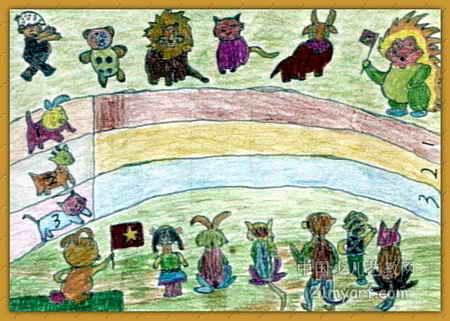 动物运动会儿童画5幅(第2张)