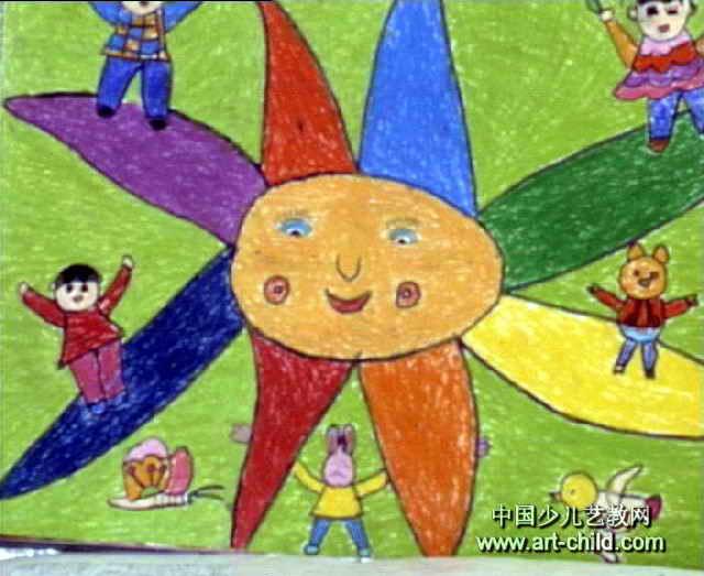 我和太阳是一家儿童画作品欣赏