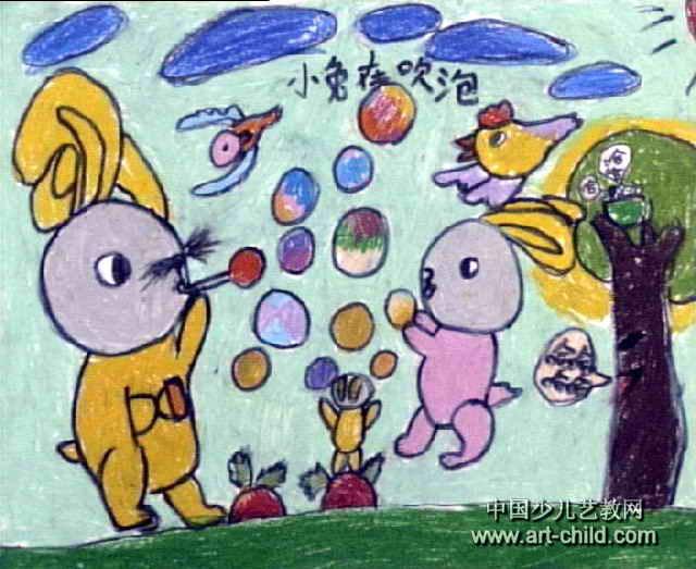 小兔吹泡儿童画图片_简笔画大全