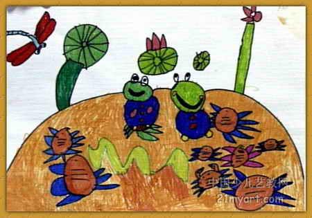 青蛙和螃蟹儿童画2幅