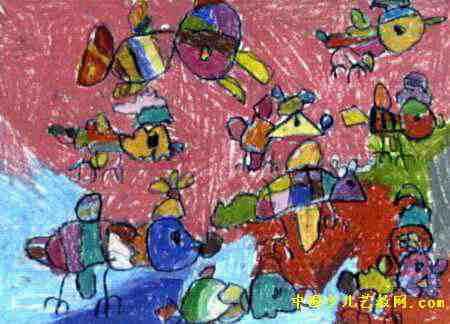 鸟的乐园儿童画2幅