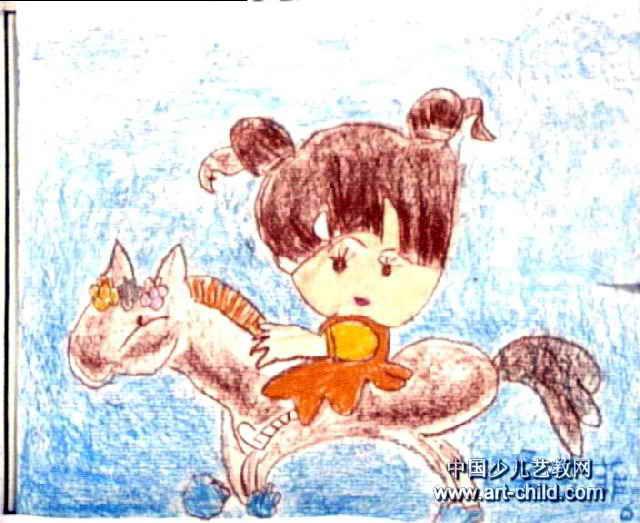 小骏马儿童画图片