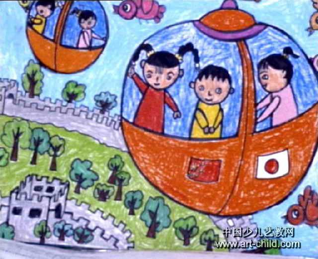 游长城油画棒儿童画