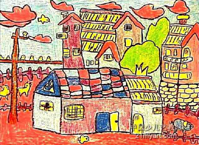 我的家真漂亮儿童画2幅